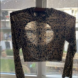 Tops - Silky soft material crop top with african print S